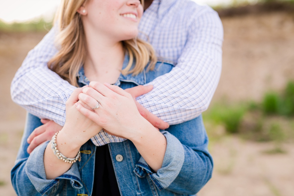 Close up of engagement ring | Outdoor, country styled engagement session near Audubon, MN | Amer Langerud Photography