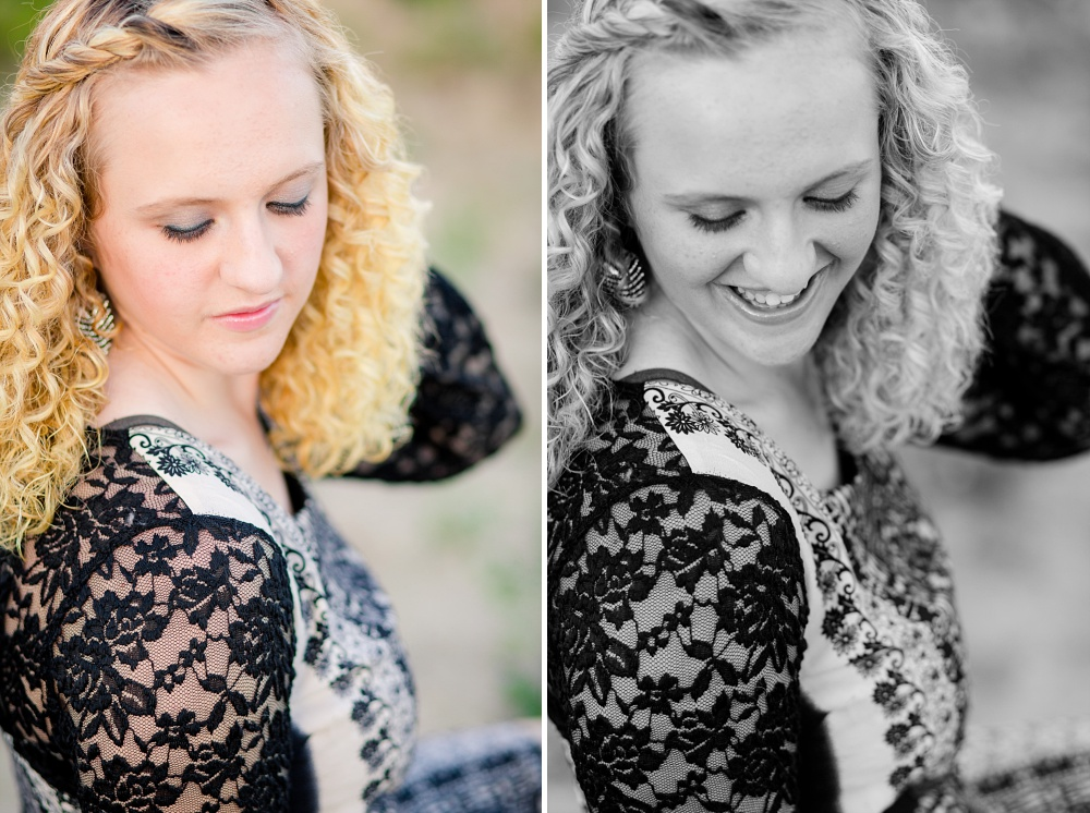Outdoor, Country Styled High School Senior Pictures by Amber Langerud Photography | Audubon, MN | HS Senior looking down laughing