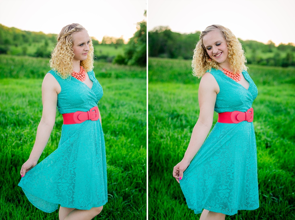 Outdoor, Country Styled High School Senior Pictures by Amber Langerud Photography | Audubon, MN | HS senior twirling in dress
