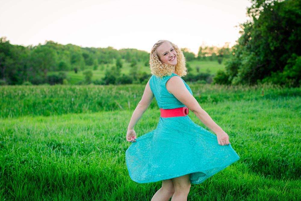 Outdoor, Country Styled High School Senior Pictures by Amber Langerud Photography | Audubon, MN | HS senior dancer twirling in turquoise dress