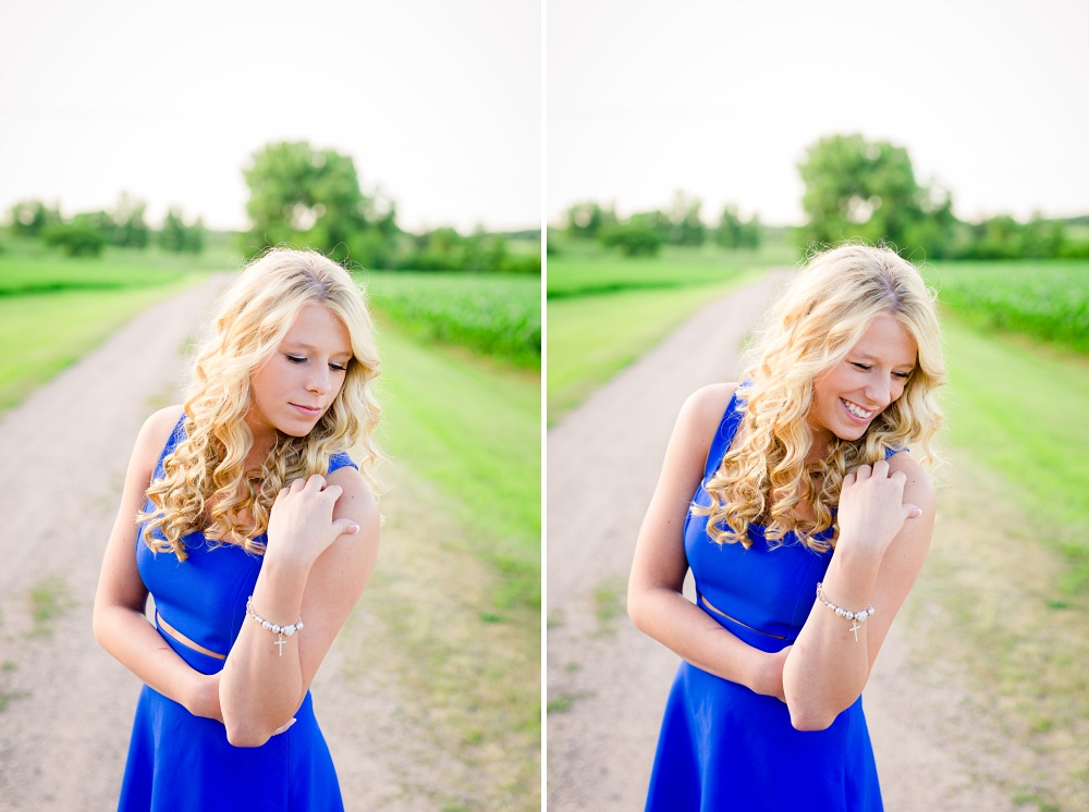 Outdoor, country and basketball styled senior pictures near Audubon, MN | Amber Langerud Photography | In blue dress on gravel road