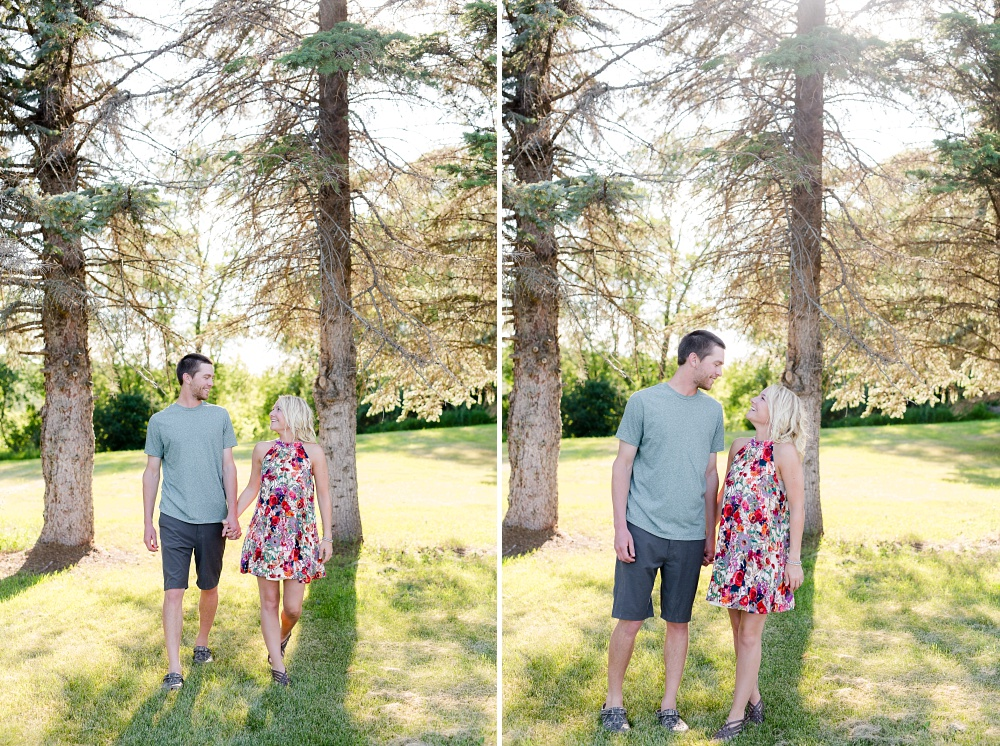 Outdoor, Country Styled Engagement Session with Their Puppy near Audubon, MN | Amber Langerud Photography | Couple Walking Together