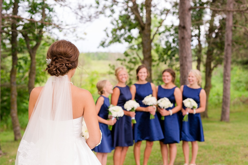 Wolf Lake, MN Country Styled Wedding, White Dress, Blue Suite | Photographed by Amber Langerud Photography | Bridesmaids