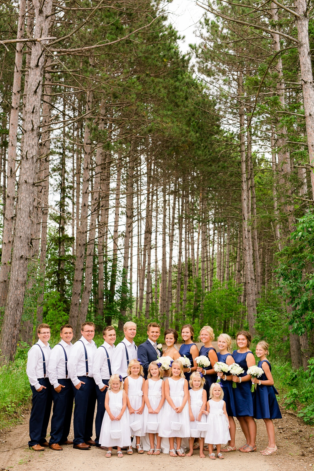 Wolf Lake, MN Country Styled Wedding, White Dress, Blue Suite | Photographed by Amber Langerud Photography | Bridal Party