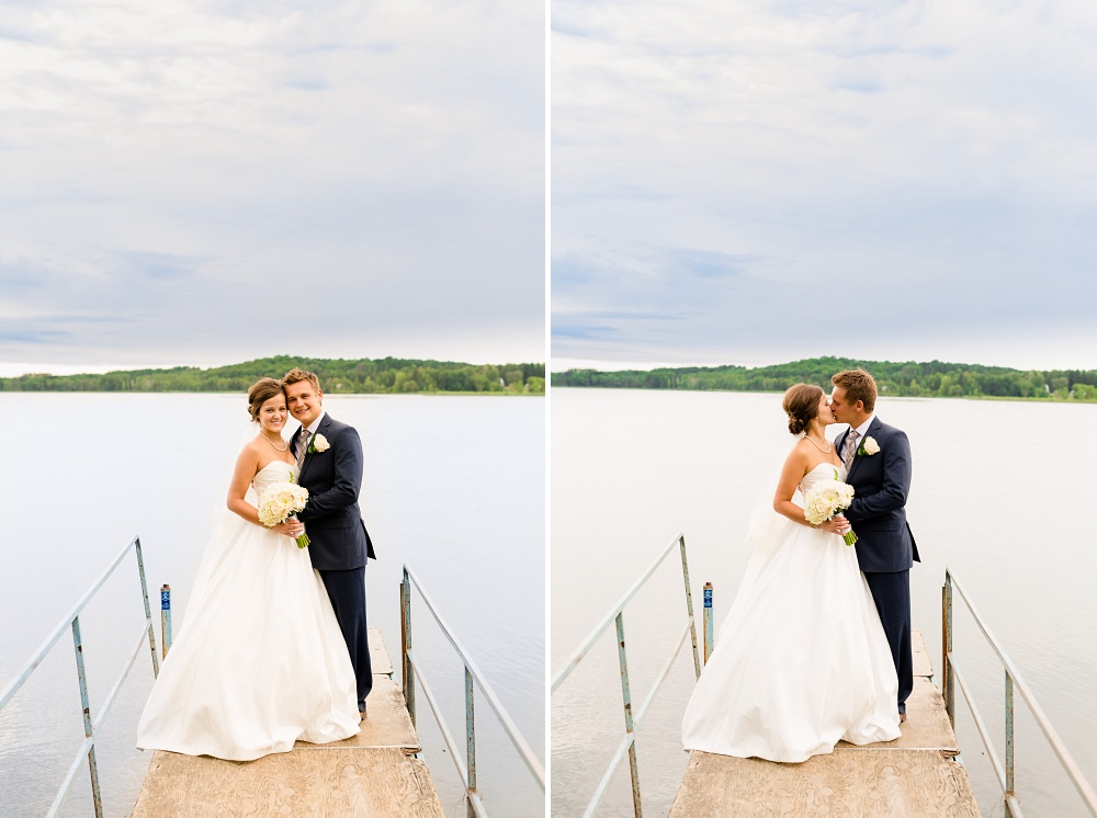 Wolf Lake, MN Country Styled Wedding, White Dress, Blue Suite | Photographed by Amber Langerud Photography | Bride & Groom Standing on a Dock