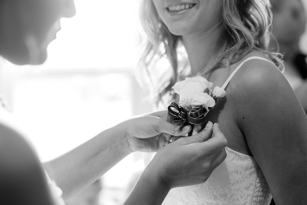 Wolf Lake, MN Country Styled Wedding, White Dress, Blue Suite | Photographed by Amber Langerud Photography | Pinning flowers