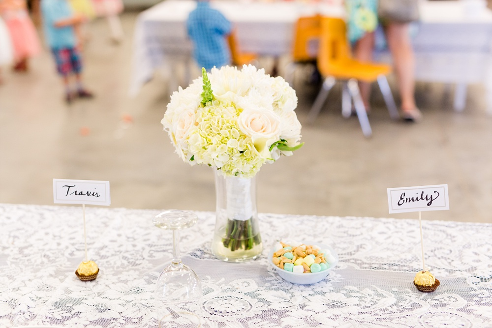 Wolf Lake, MN Country Styled Wedding, White Dress, Blue Suite | Photographed by Amber Langerud Photography | Reception Head Table Decorations