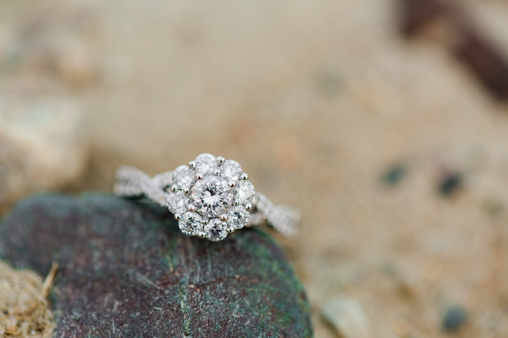 Minnesota Country Styled Engagement Pictures by Amber Langerud Photography | Engagement Ring on a Rock