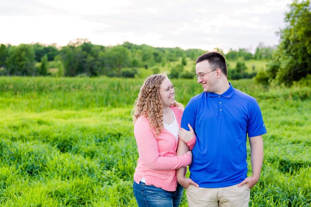 Minnesota Country Styled Engagement Pictures by Amber Langerud Photography | couple looking at each other smiling