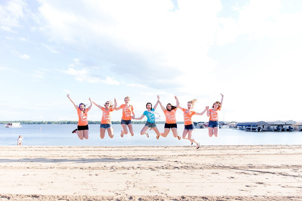 Miss Becker County 2016 pre pageant photos | Miss Contestants Jumping for Joy at the Beach