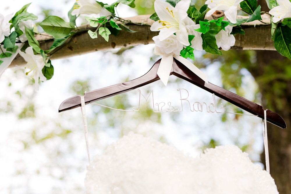 Rustic, Elegant, Lakeside & Frazee Event Center Wedding | Steph & Tim | Wedding Dress Hanger