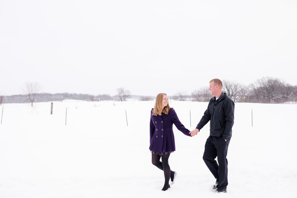 Snowy, Wintertime, Country Styled Engagement Session by Amber Langerud Photography near Audubon, MN | Andrea & Steve