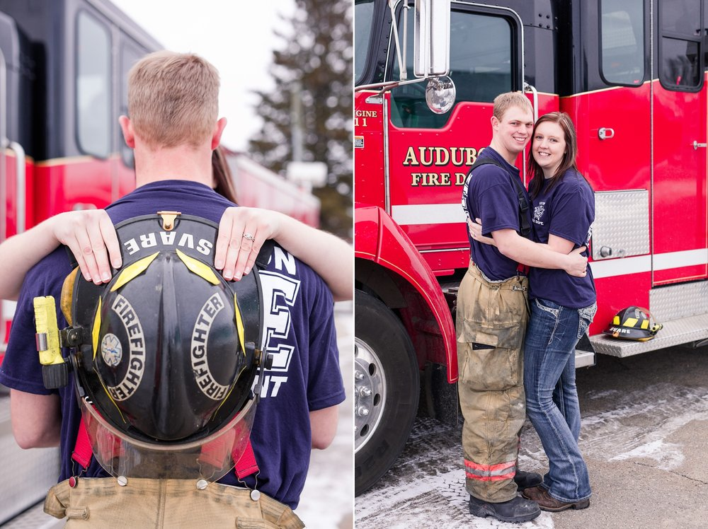 Minnesota Winter Engagement Session at the Audubon, MN Fire Hall