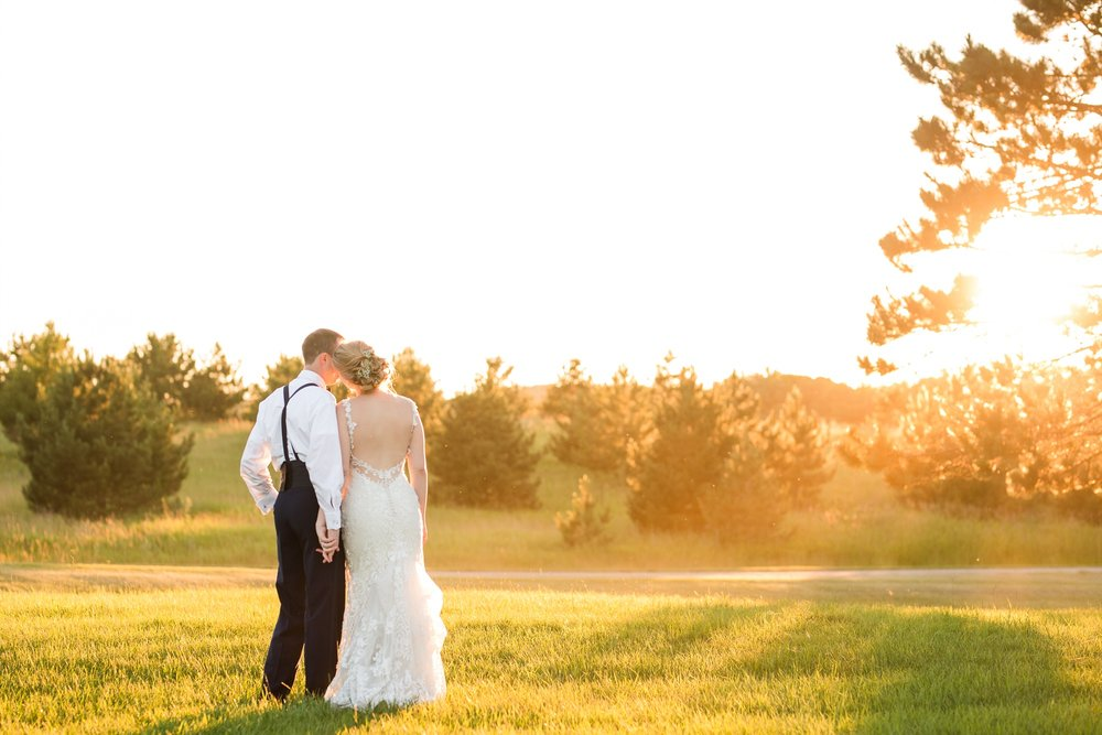 Sunset Portrait | Summertime, Country Styled, Patriotic, Barn Wedding on the Lake at The Barn at Five Lakes near Frazee, MN by Amber Langerud Photography | Adrienne & Nick