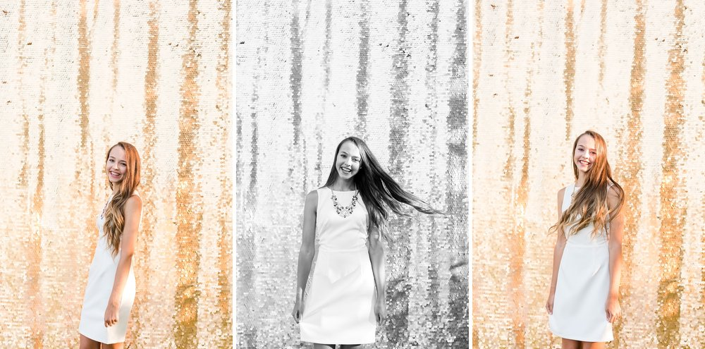 Dance and Country Styled High School Senior Session by Amber Langerud Photography near Audubon with Drop it Modern Gold Sequin Backdrop | Riley