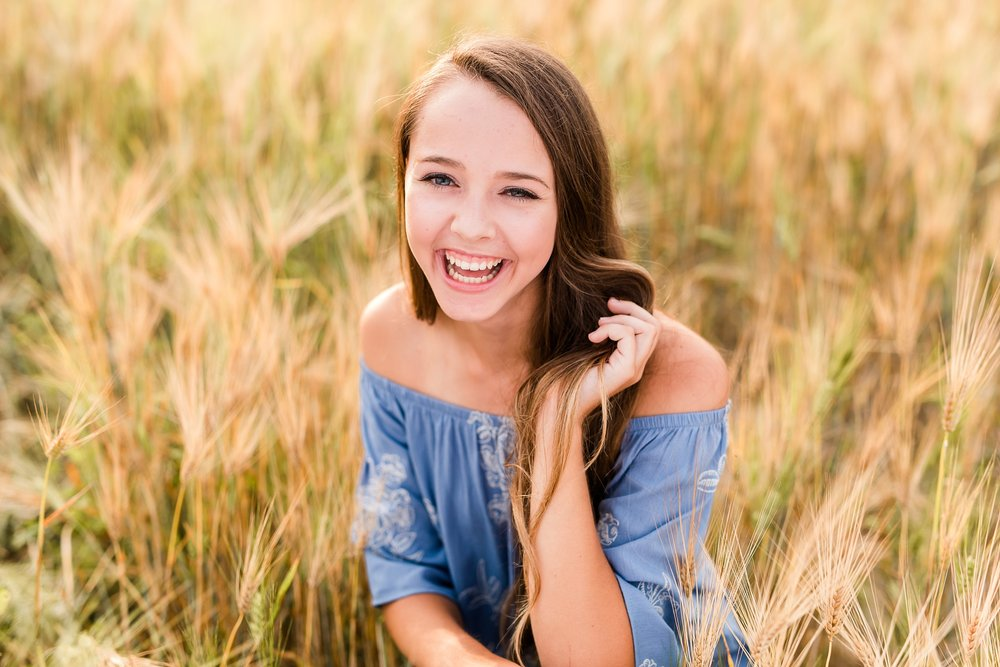 Dance and Country Styled High School Senior Session by Amber Langerud Photography near Audubon in a wheat field | Riley