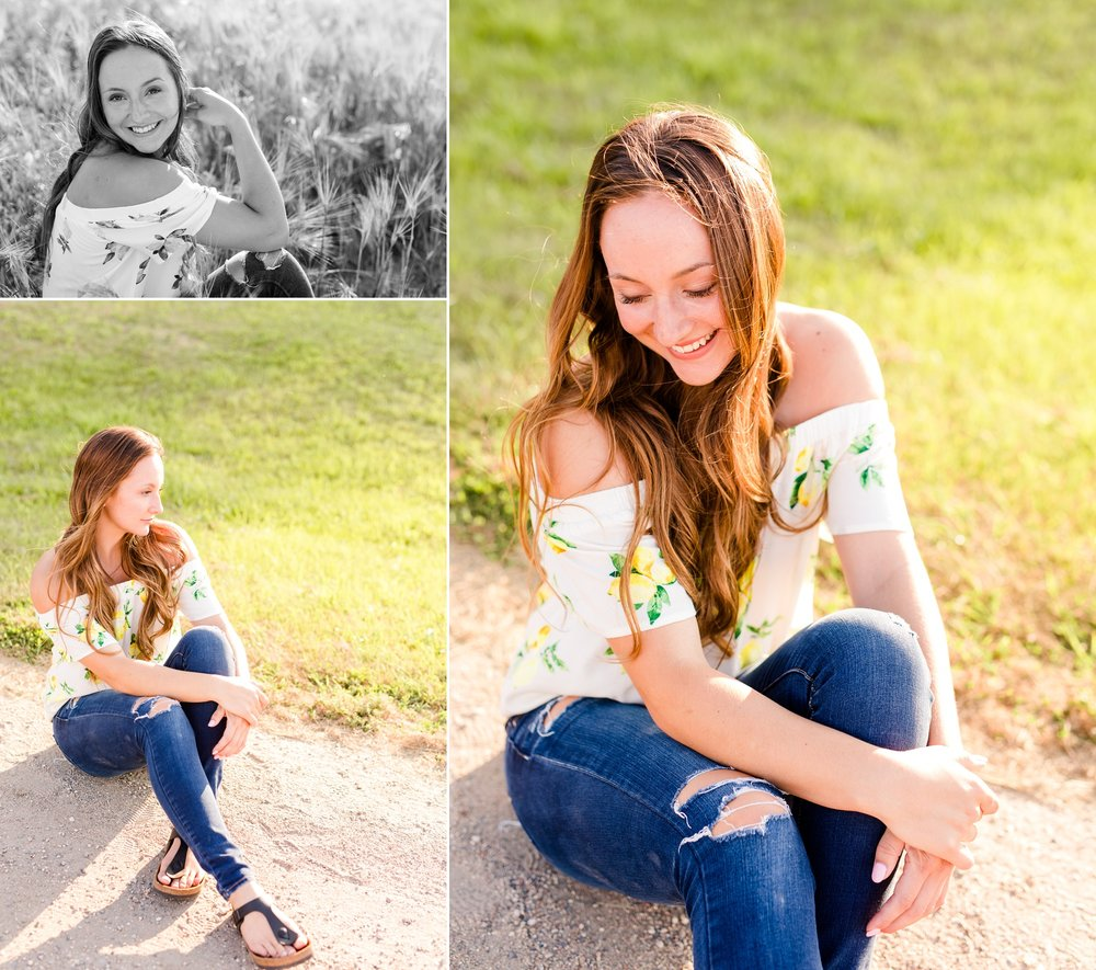 Rural Minnesota High School Senior Session with Hay Bales and by the Lake near Audubon, MN | Livi