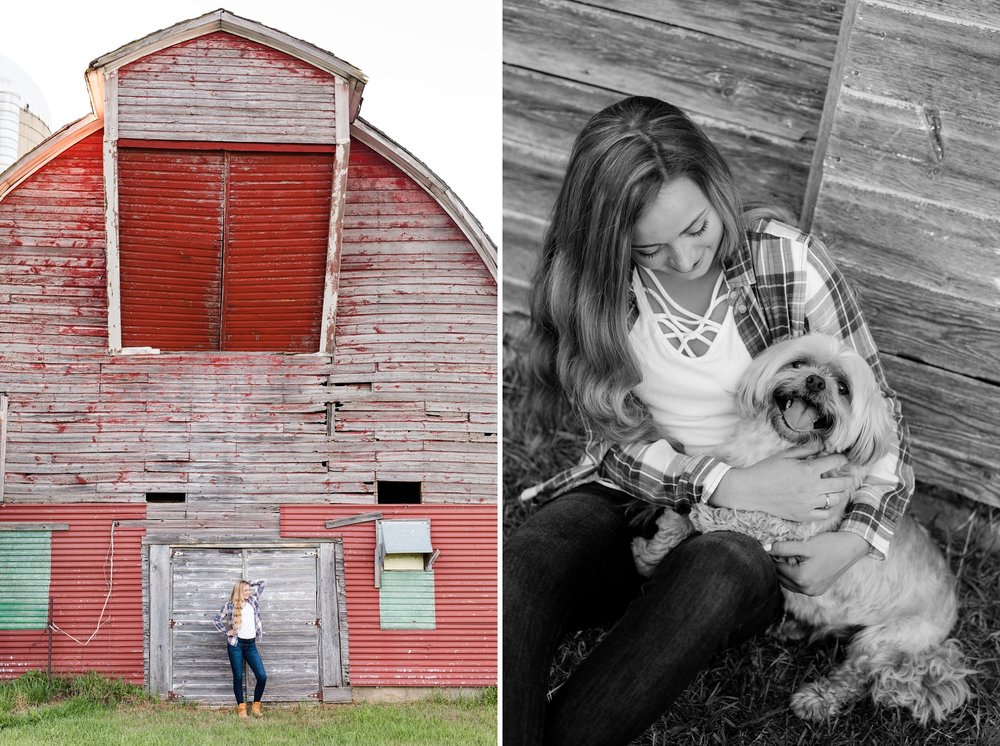 Country Styled High School Senior Pictures on a Farm and Little Cormorant Lake in Minnesota by Amber Langerud with Old Barn