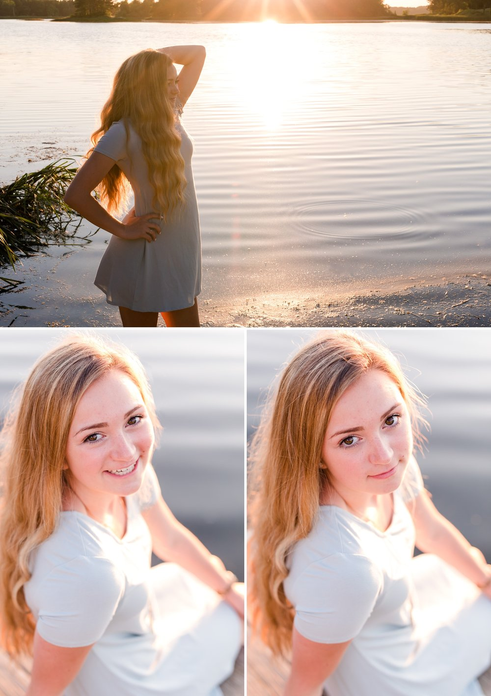 Country Styled High School Senior Pictures on a Farm and Little Cormorant Lake in Minnesota by Amber Langerud with a sunset on the lake