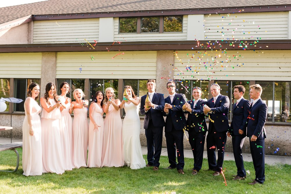 Sunset, Lakeside Wedding in Detroit Lakes, MN | Blush Pink Wedding Color | Live Floral Bouquets | Photography by Amber Langerud