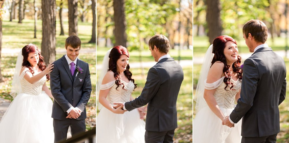Downtown Fargo Disney Themed Wedding by Amber Langerud Photography | First Look