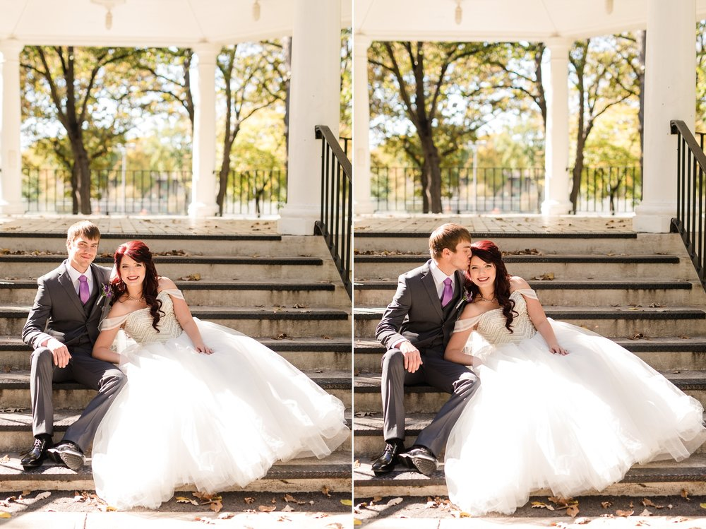Downtown Fargo Disney Themed Wedding by Amber Langerud Photography | Bride & Groom Island Park sitting on steps
