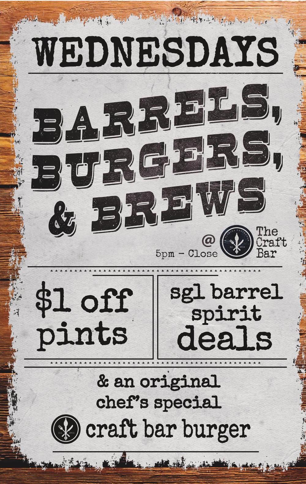 barrels, burgers, brews