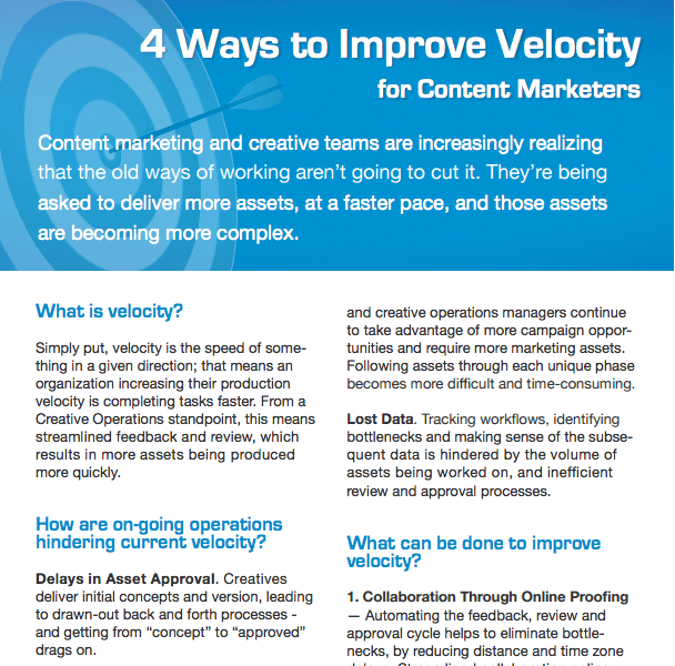 4 Ways to Improve Velocity - Content Marketers DOWNLOAD