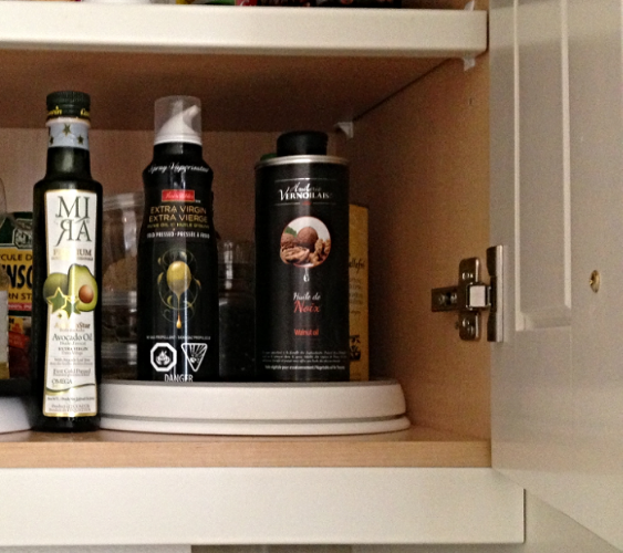 These oils are stored in a kitchen cupboard away from light and sealed tight in bottles.