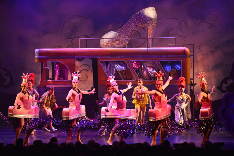 Alex Nordin and company in Priscilla, Queen of the Desert at the Ogunquit Playhouse.