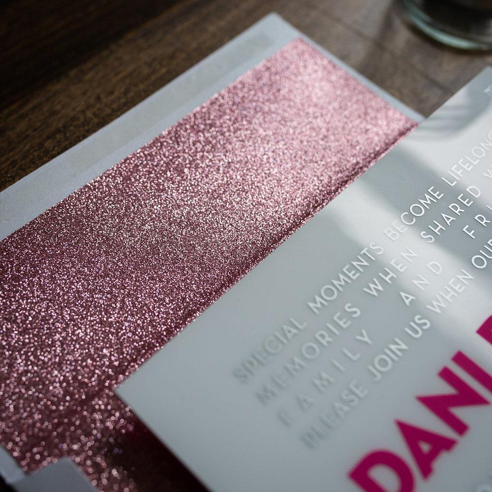 GLITTER, METALLIC INK, & FOIL - Make your invitation shimmer and shine
