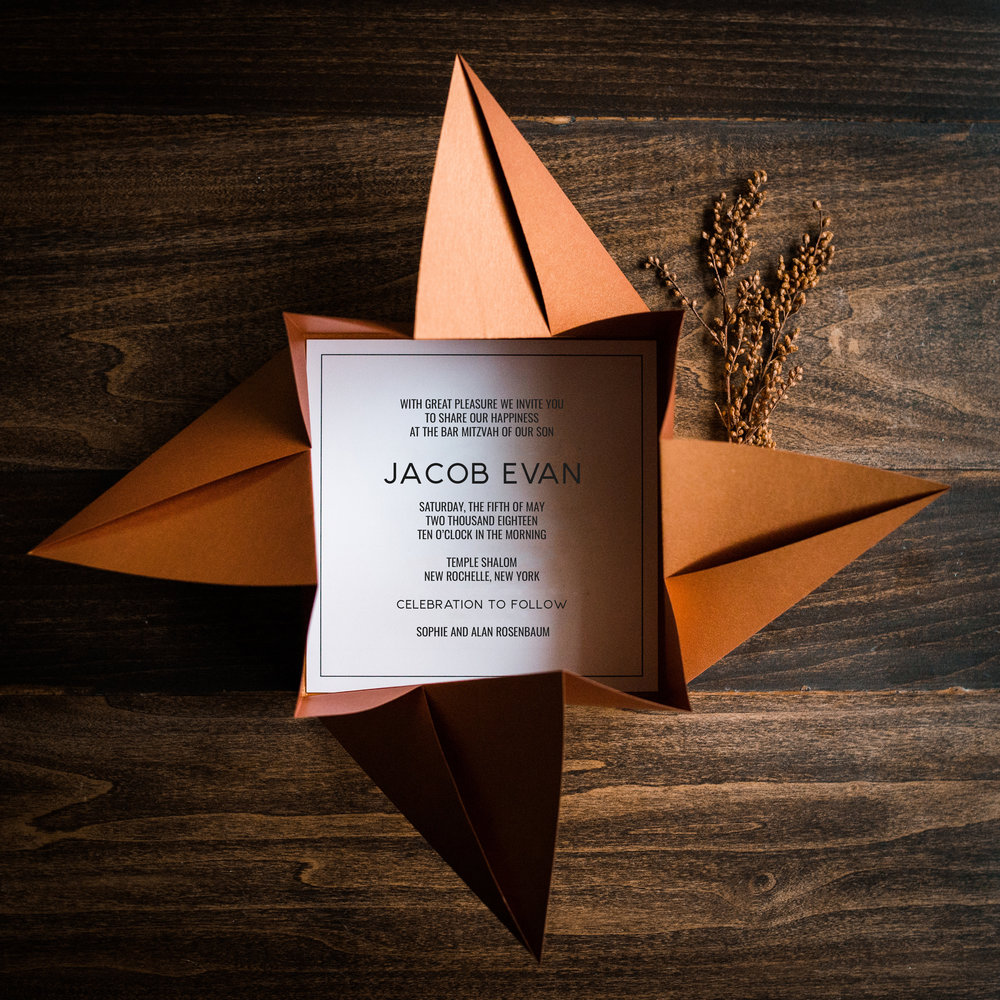 ORIGAMI POCKETS - Give your guests an experience with opening a hand-folded origami invitation
