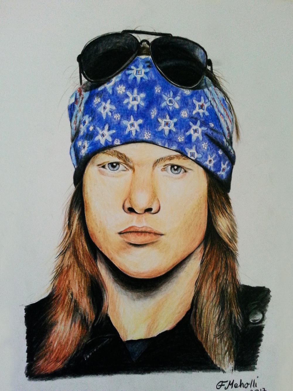 Axl Rose (2017) Colourd pencils on paper 35 €
