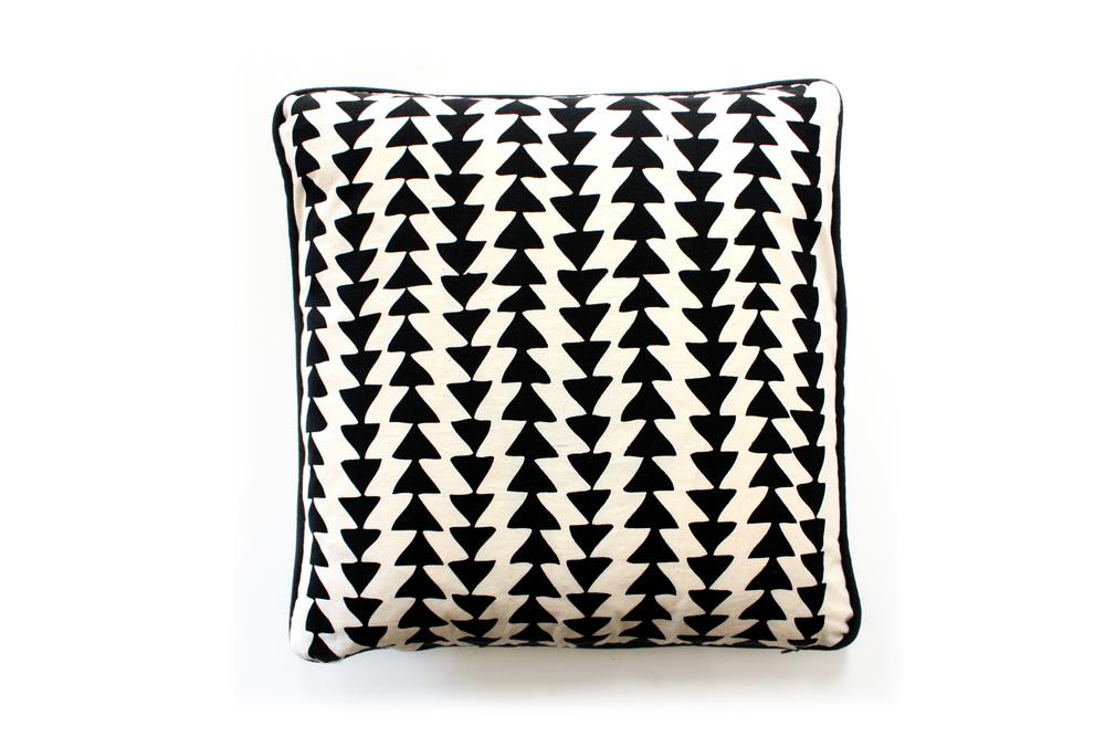 Hand Printed Geo Triangle Cushion