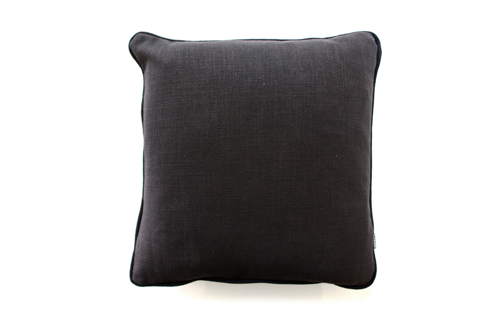 Charcoal Piped Cotton Cushion