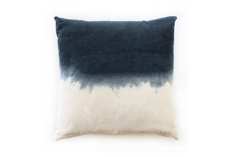 Hand Dyed Navy Ombre Cushion