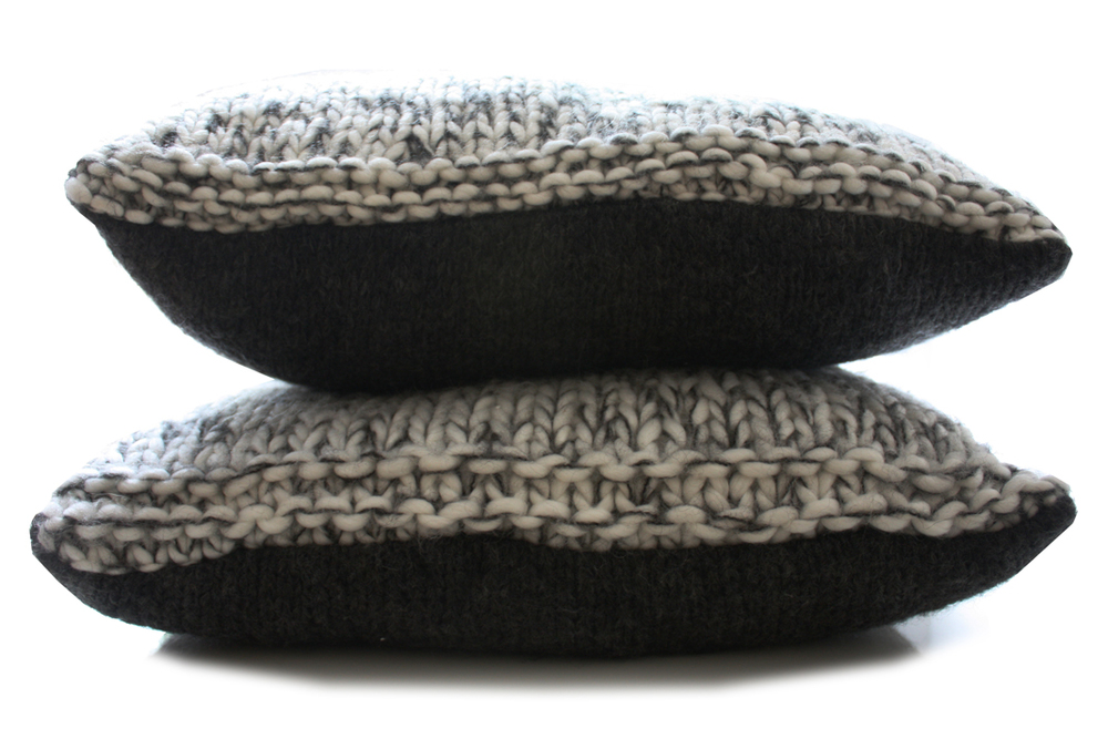 Black & White Cable Knitted Chunky Cushion