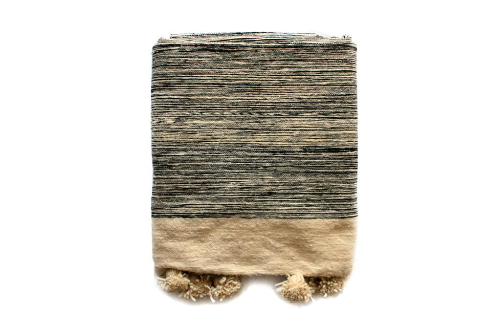 Moroccan Wool Pompom Blanket _ Black & Cream Melange_Medium