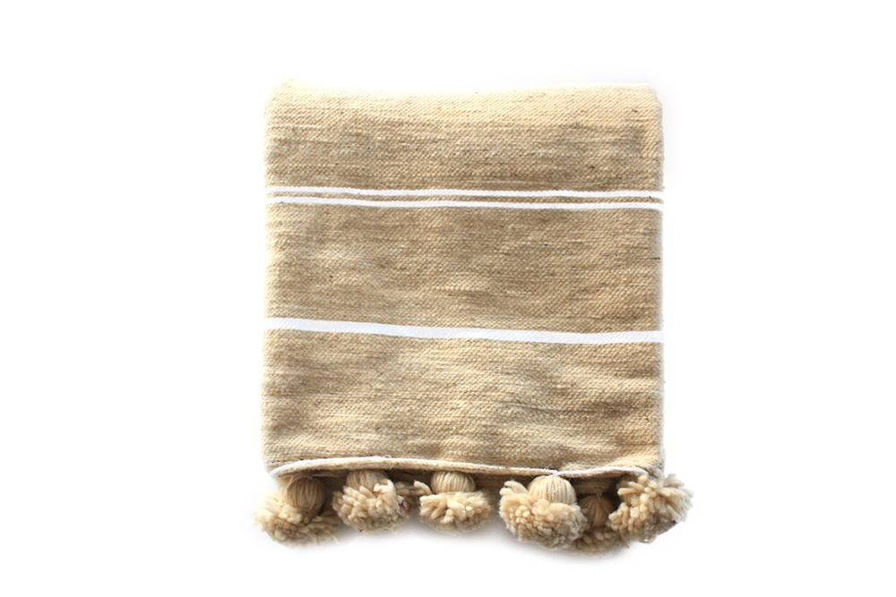 Moroccan Wool Pompom Blanket _White & Cream_Small