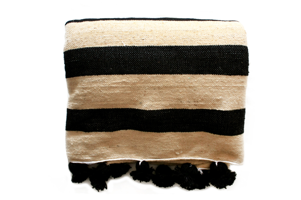 Moroccan Wool Pompom Blanket _Black & Cream_Large
