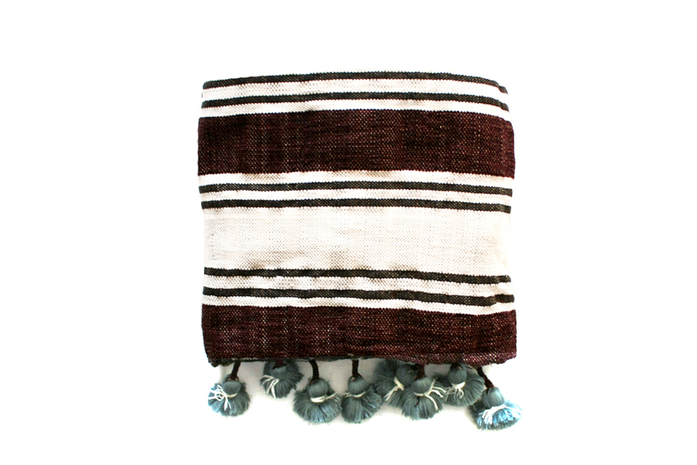 Moroccan Cotton Pompom Blanket _ Brown & White (Aque Blue Pompom)