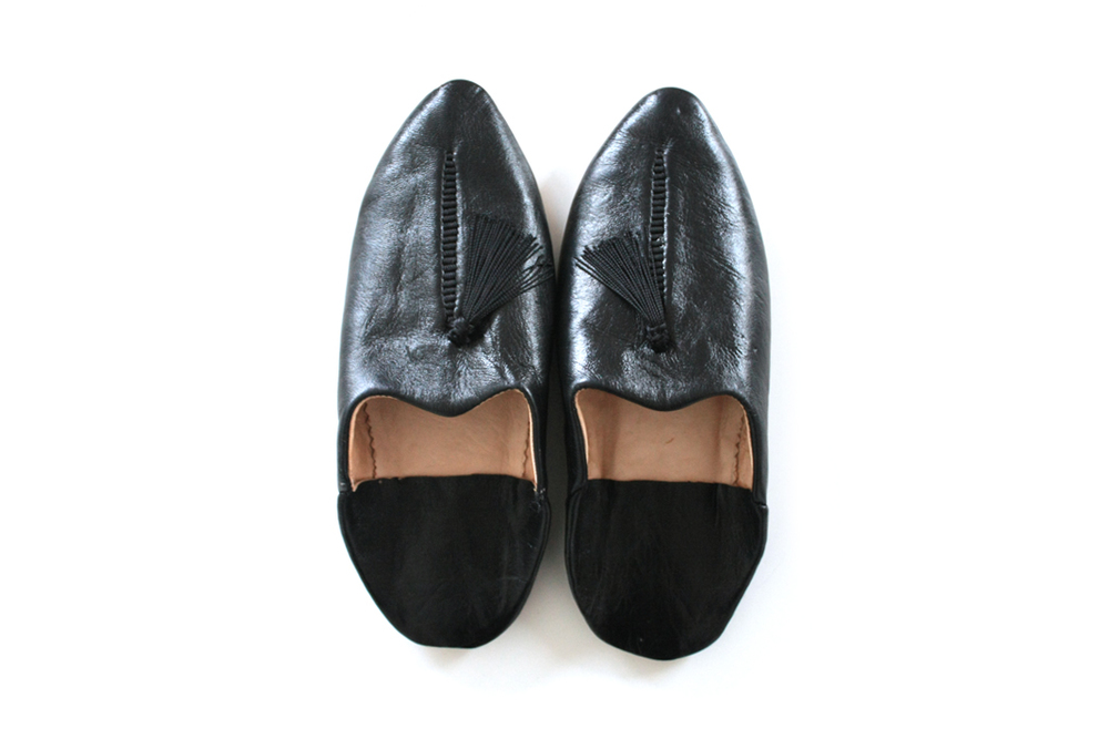 Leather Babouche Slippers _ Black, Woman