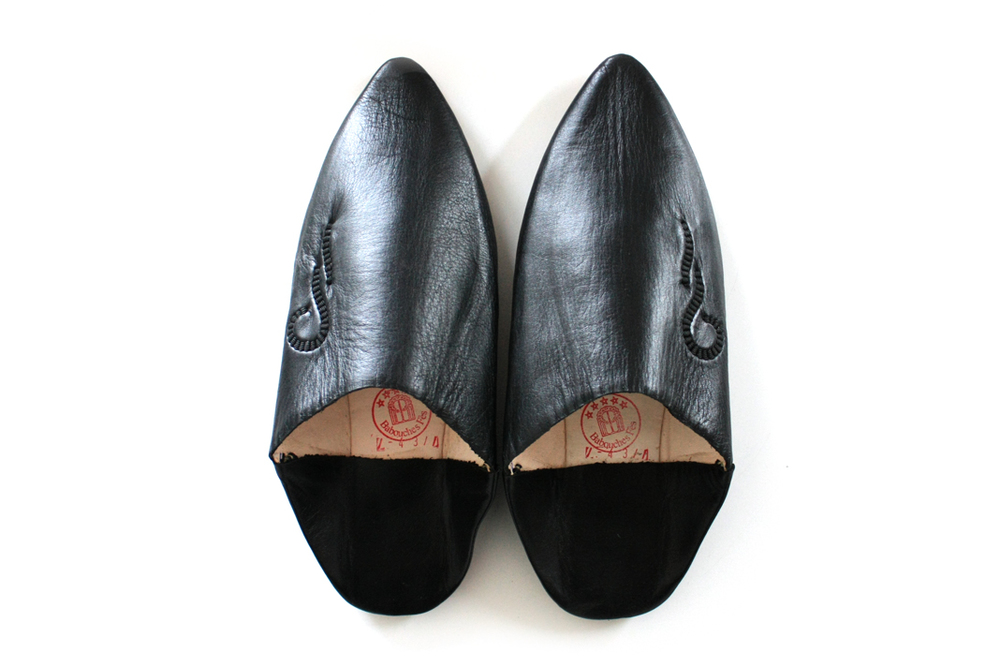 Leather Babouche Slippers _Black, Man