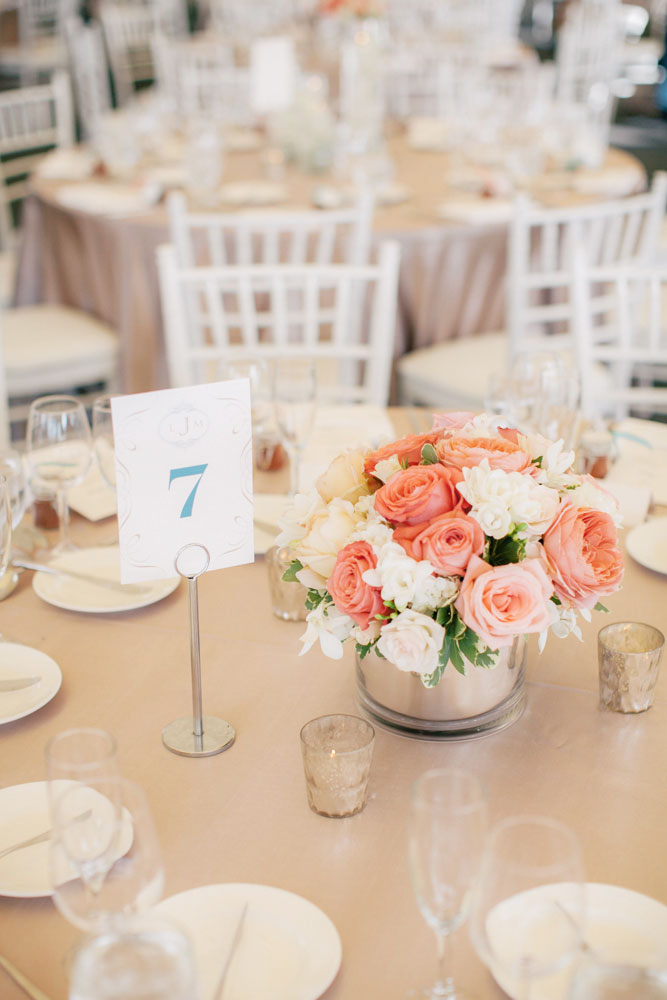 Peach Wedding Details at the Woodmark Hotel | Clane Gessel Photography | Seattle Wedding Venue | New Creations Wedding Design and Coordination