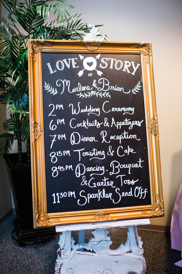 Bothell Wedding Reception at Russell's | Seattle Wedding Coordination | New Creations Wedding Design and Coordination | Chalkboard Wedding Sign