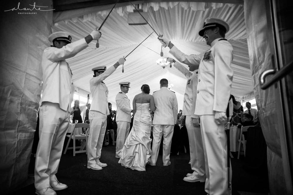 Saber Wedding Arch | Navy Wedding Navy Seaside Wedding Inspiration | Teal and Pink Wedding | Woodmark Hotel Kirkland Wedding | Alante Photography | New Creations Weddings | Kirkland Wedding Planner