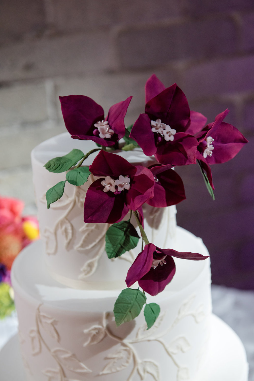 Within Sodo Wedding | Bougainvillea Wedding Cake | Tropical Wedding Cake | Affinity Photography | Seattle Wedding Planner | New Creations Weddings
