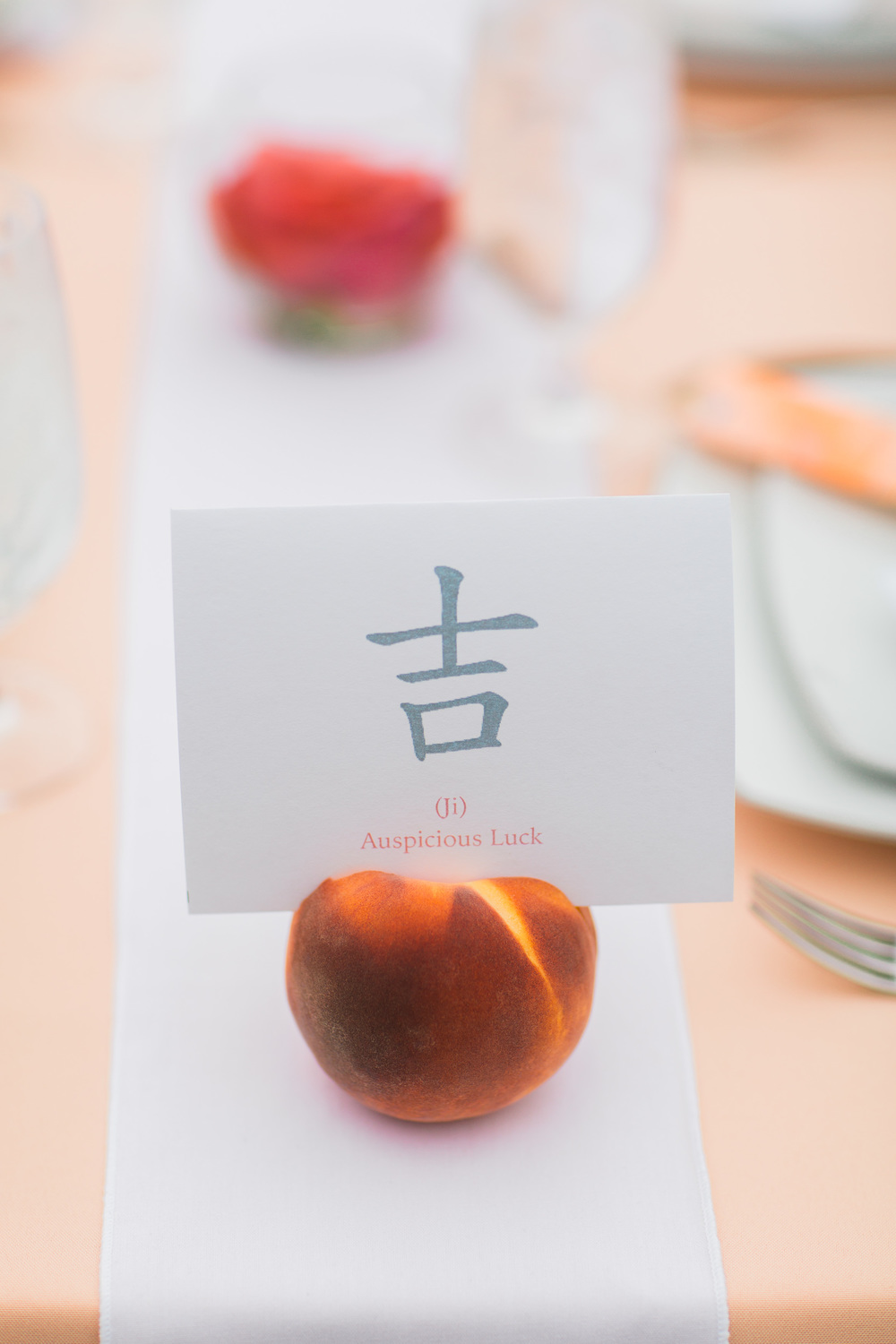Chinese Table Number | Peach Table Number Holder | Asgari Photography | Center for Wooden Boats | Seattle Wedding Planner | Chinese Wedding Planner