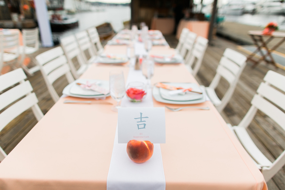 Peach Wedding | Center for Wooden Boats | Asgari Photography | Seattle Wedding Planner | Chinese Wedding Planner