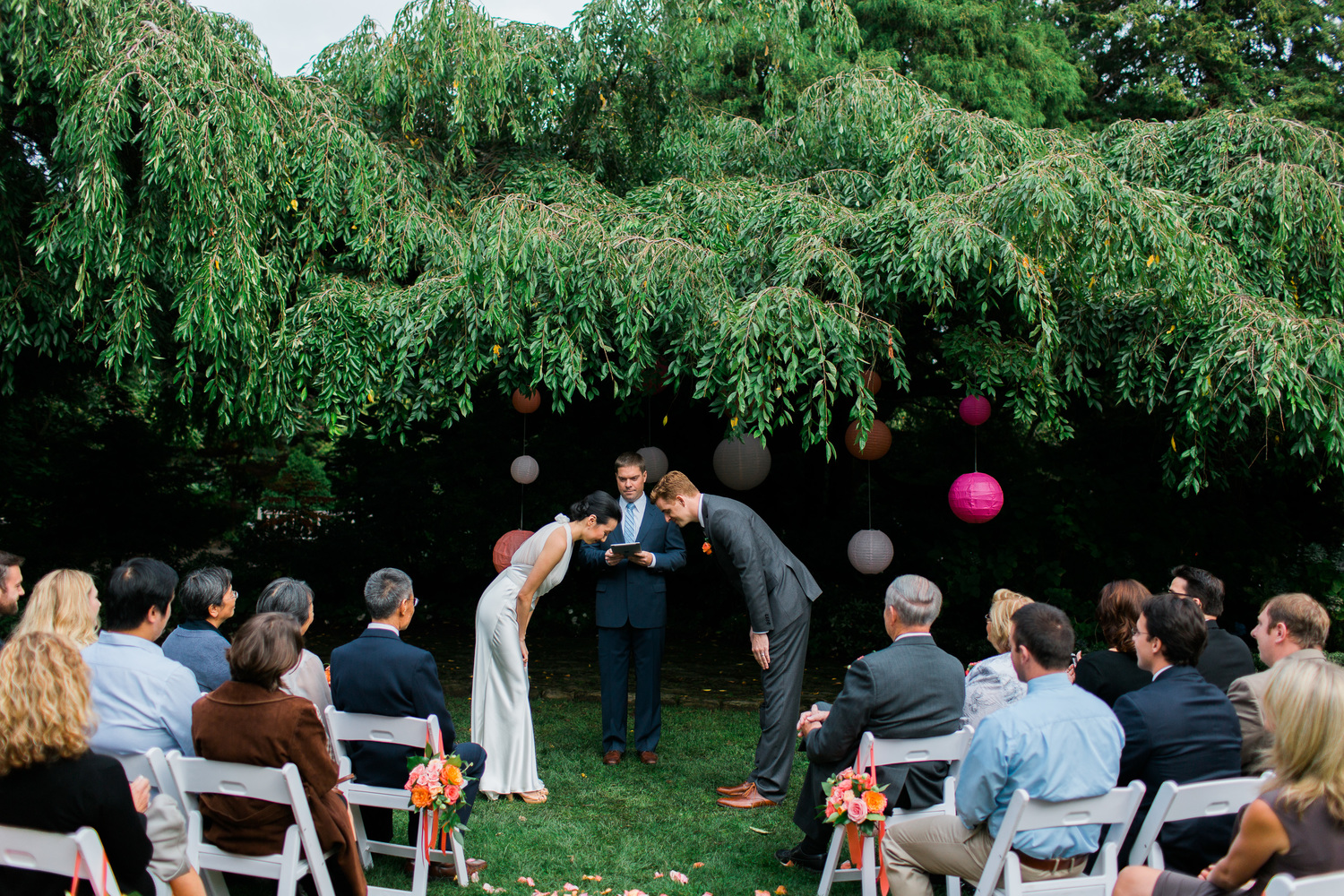 meng and brent parsons gardens wedding center for wooden boats